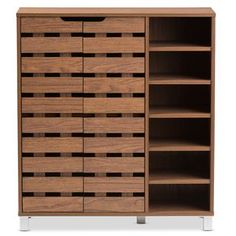 Featuring modern and contemporary design, this fantastic 2-door shoe cabinet with open shelves combines storage with style.