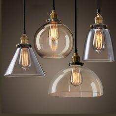 Modern Clear Glass Pendant Light E27 110-220V Edison Bulbs Hanging Lamps For Home Restaurant bar cafe Decor glass light fixture