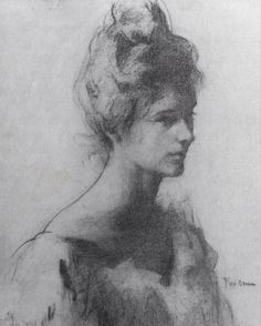 """ Head of a lady, Frank Weston Benson """