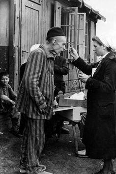 HANNOVER Eine Krankenschwester füttert einen Gefangenen in einem befreiten Konzentrationslager bei Hannover