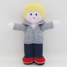 "KNITTED DOLL - ""Ash"" - Baby Buddy with pink skin tone"