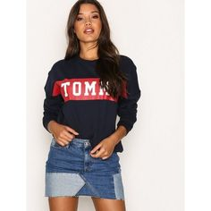 Tommy Jeans Thdw Recon Denim Skirt (€74) ❤ liked on Polyvore featuring skirts, denim, womens-fashion, tall denim skirt, white knee length skirt, tommy hilfiger, tommy hilfiger skirts and short skirt