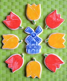 Holland theme cookies: tulips and a windmill