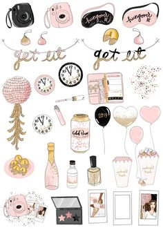 Get Lit Clip Art New Years 2019 Party Birthday Fashion Cute Laptop Stickers, Cool Stickers, Printable Stickers, Journal Stickers, Scrapbook Stickers, Planner Stickers, Birthday Fashion, Light Clips, Snapchat Stickers