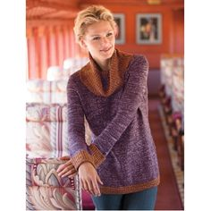 This sweater is from Travel Smith but I think it would be an idea for a hand knit - Two-Tone Cowlneck Sweater in Purple and Copper - the copper has a little metallic look to it.