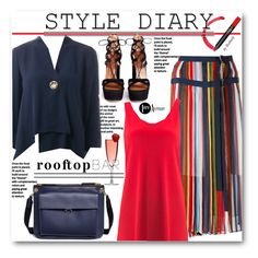 """""""Summer Date: Rooftop Bar"""" by beebeely-look ❤ liked on Polyvore featuring Sacai, Joseph Ribkoff, Marni, stripes, summerdate, premiereavenue, JosephRibkoff and rooftopbar"""