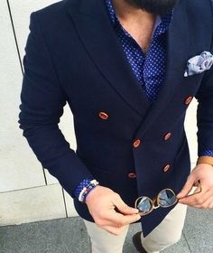 Men's Navy Wool Double Breasted Blazer, Blue Polka Dot Dress Shirt, White Chinos, Light Violet Paisley Pocket Square