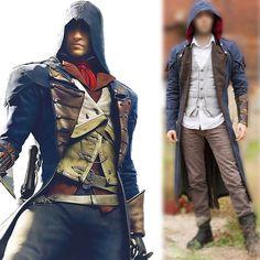 Assassin's Creed Unity Arno Dorian Denim Cloak Cosplay Costume with Hoodie #Handmade #LongCoat