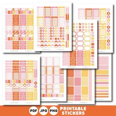 Orange, yellow and pink printable weekly planner stickers with daily stickers, work stickers, fitness stickers and much more, STI-401
