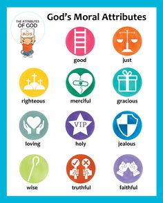 Classroom Posters - The Attributes of God for Kids Bible Crafts, Kids Crafts, Attributes Of God, Values Education, Raising Godly Children, Bible Illustrations, Board For Kids, Bible Coloring Pages, Bible Lessons For Kids