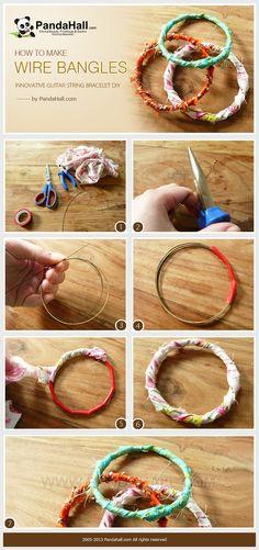 Tässä ohjeessa väännetään käsirenkaita rautalangasta, mutta toki sama hauska päällytystapa toimii valmiille käsirenkaillekin. This tutorial aims to help you figure out how to make wire bangles; actually it is an innovative guitar string bracelet diy, you will definitely love it!
