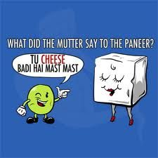 """we all have that one favourite """"PANEER"""" dish! For us it's paneer & mutter! ans to comment section. Indian Puns, Indian Jokes, Desi Humor, Desi Memes, Desi Problems, Asian Humor, Punjabi Jokes, Desi Quotes, Cute Puns"""