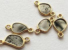 4 Pieces Dark Grey Slice Rough Diamond Connector by gemsforjewels