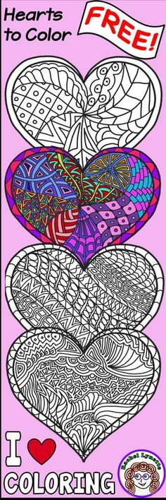 Grab these FREE Heart Coloring pages for Valentine's Day - or any time! Fun for kids and adults - indoor recess, parties, read aloud, test breaks - anytime your students need to de-stress.