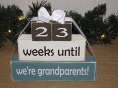 Grandparent countdown. Wood Blocks. Pregnancy by SpangGangDesigns