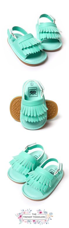 Let your kids walk like a star! SALE 50% OFF + FREE SHIPPING! SHOP Our Mint Fringe Sandals for Baby Girls