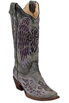Corral Ladies Distressed Black w/ Winged Cross Purple Inlay Snip Toe Western Boot