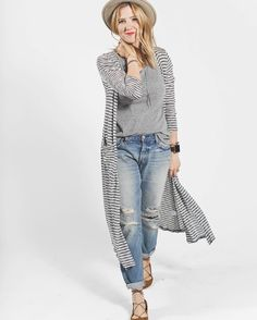 """""""Last, but not least, is Amelia! Amelia started with her favorite worn boyfriend jeans, cuffed at the ankle, and added a gray #lularoeclassictee and a…"""""""