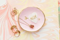Gift your mom with a DIY sculpey jewelry dish for Mother's Day using this easy tutorial.