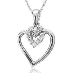 10k White Gold Heart Diamond Pendant Necklace (HI, I, 0.10 carat)  http://electmejewellery.com/jewelry/necklaces/10k-white-gold-heart-diamond-pendant-necklace-hi-i-010-carat-com/
