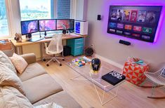 Video Game Room Ideas That Are Insanely Awesome Small Space Video Game Room Setup Game Room Design, Small Room Design, Games Room Inspiration, Room Ideas, Deco Gamer, Gaming Room Setup, Computer Room Decor, Computer Gaming Room, Gaming Rooms