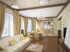 потолок в гостиной совмещенной с кухней