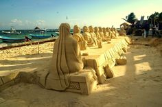 "escultura de arena ""la ultima cena"""