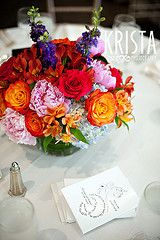 orange red and pink flower centrepieces - Google Search