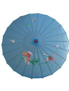 "Chinese Japanese Blue Fabric Umbrella Parasol 32"" S&W"