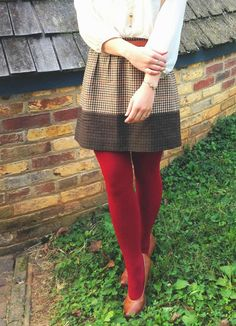 Plaid tweed skirt + colored tights = fall perfection