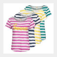 KEY LARGO Damen T-Shirt Oversize Shirt Top Pailletten Besatz Statement Print