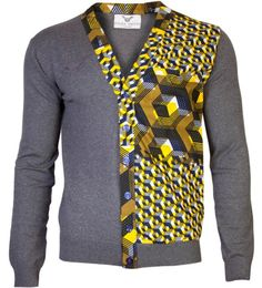 AFRICAN PRINT FABRIC ON A MAN'S SWEATER