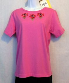 Bob Mackie Wearable Art Embroidered Knit Top Womens Size XS Pink  www.bevsthisnthatshop.com