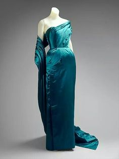 Jacques fath 1951 silk evening dress