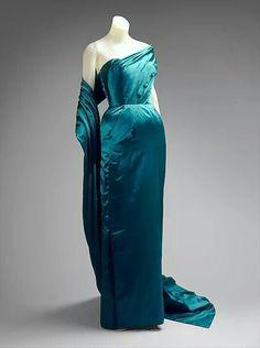 Jacques fath 1951 silk evening dress