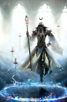 Alto sacerdote de Fotólia (deusa criadora do sol, das estrelas e das criaturas supernais benignas. Criou a magia profunda e as bases para todas as magias. Ela não aparece entre os homens há trezentos anos e não se comunica mais com seus sacerdotes, o motivo é desconhecido mas suspeita-se de Jarrin)
