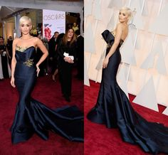 Rita Ora Navy Mermaid Celebrity Dresses 2015 87TH Oscar Golden Sequin Beads Evening Dress Court Train Low Back Sexy Formal Prom Gowns #dhgatePin