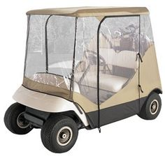 """Fits two-person golf carts Protection against wind and rain  won't shrink or stretch for year-round use  Super clear PVC windows  Zippered doors for easy entry  Separate rear panel for access to clubs  Installs quickly with no tools needed  Includes carrying case  Dimensions:        84-1/2"""" long x 41"""" wide x 54-1/2"""" high      Roof length: 54-1/2""""      Roof width: 41"""" Price: $88.95    Shipping Weight: 17 pounds"""