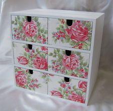 White Painted Ikea Moppe 6 Drawer Wooden Storage Box Cath Kidston Decoupage