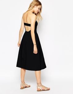 ASOS Bandeau Midi Skater Dress with Open Back