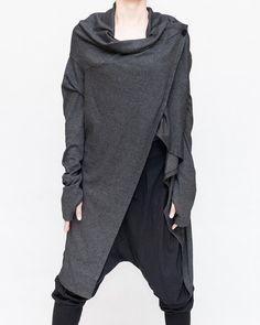 Creative Versatile Long Cardigan Drape Jacket Jersey Cotton (Heather Black)