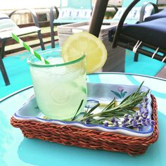 First lemonade of the summer - Rosemary Lavender Lemonade. Made with simple syrup steeped with rosemary sprigs and lavender flowers added to fresh squeezed lemons and water.