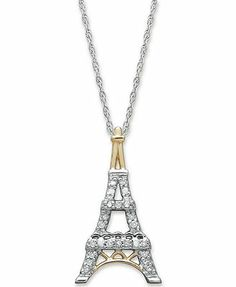 Diamond Necklace, 14k Gold and Sterling Silver Diamond Eiffel Tower Pendant (1/10 ct. t.w.)