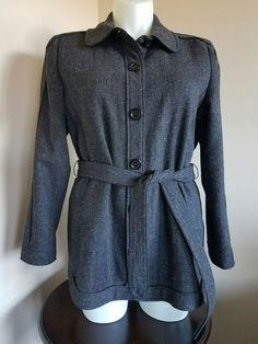 Talbots Size 14W  Gray Tweed 100% Wool Button up Coat Jacket w Tie Belt LN #Talbots #BasicJacket