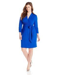 Adrianna Papell Women's Plus-Size 3/4 Sleeve Wrap Dress, Cobalt, 14