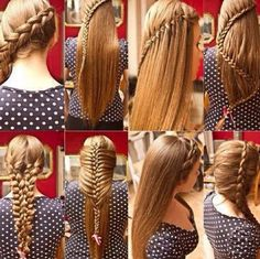 wish I had hair like this so I could do these different braids Pretty Hairstyles, Braided Hairstyles, Hairstyle Ideas, Amazing Hairstyles, Fashion Hairstyles, Creative Hairstyles, Quick Hairstyles, Elegant Hairstyles, Latest Hairstyles