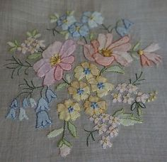 Vintage Hand Embroidered PASTEL BOUQUETS Shadow Work Madeira Tablecloth ~ 42x42 | eBay