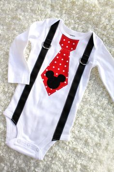 Mickey Mouse Birthday Tie & Suspender Bodysuit Corduroy Head Baby Boy First Birthday Party Outfit Disney Style Clothing Valentine's Day Red on Etsy, $23.50
