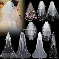 Elegant Charming Cathedral Wedding Bridal Veil Chic Lace Edge Short/ Long Dress