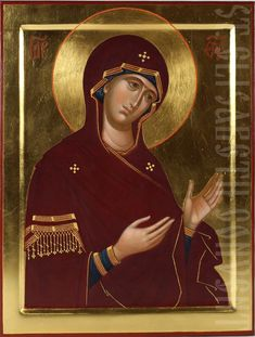 This icon has a hand-carved rectangular central panel. Decorated with gold-plating of the margins, the background, and the halo; gold-painting on the vestments. Hand Carved, Hand Painted, Tempera, Gold Plating, A Blessing, Semi Precious Gemstones, Gold Leaf, Catholic, Carving